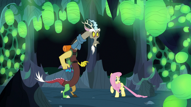 File:Fluttershy Changeling with tail stuck under a rock S6E26.png