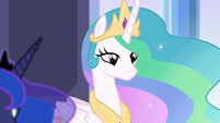 Princess Celestia with stoic expression S4E25