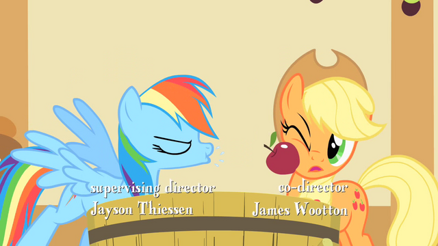 File:Rainbow Dash spitting an apple at Applejack S01E25.png