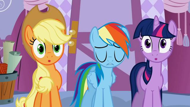 File:Twilight & Applejack hear Rainbow Dash be blunt S1E14.png