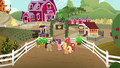 AJ, Big Mac, Filthy, and Spoiled just outside Sweet Apple Acres S6E23.png