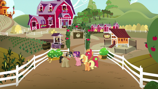 File:AJ, Big Mac, Filthy, and Spoiled just outside Sweet Apple Acres S6E23.png