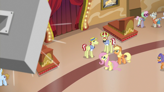 File:AJ, Fluttershy, Flim, and Flam hear another announcement S6E20.png
