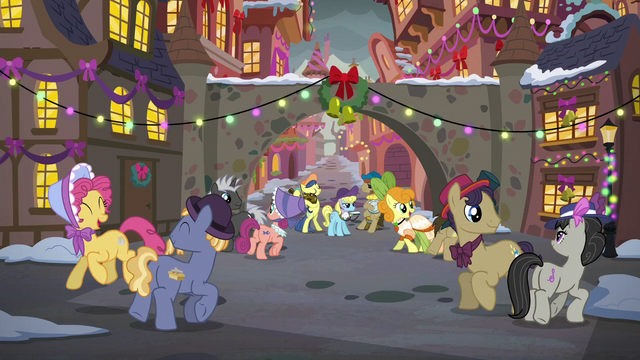 File:Ponies dancing in the Canterlot square S6E8.png