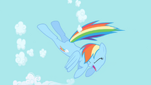 Rainbow Dash begins to clear the sky S1E01.png