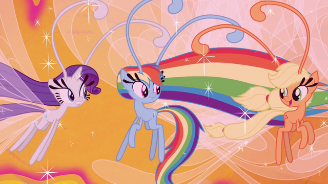 File:Rarity, Rainbow, and AJ as Breezies S4E16.png