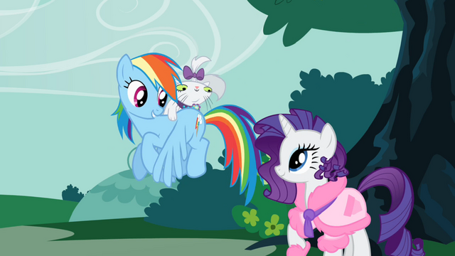 File:Opal on Rainbow Dash's back S1E14.png