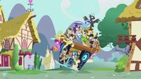 Pile of ponies on DJ Pon-3's mobile DJ station S5E9