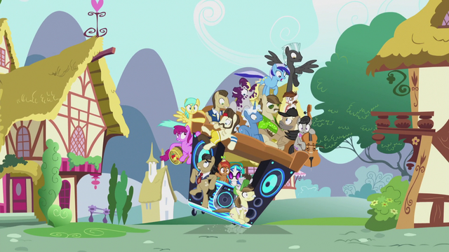 File:Pile of ponies on DJ Pon-3's mobile DJ station S5E9.png