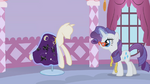 Rarity putting incomplete dress on mannequin S1E14