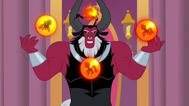 File:Tirek with orbs showcasing each of the pony races S4E26.png