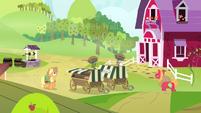Applejack and Big Mac carrying pies S4E17
