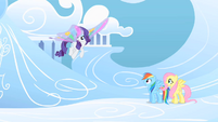 Fluttershy and Rainbow Dash gaping at Rarity's new wings S1E16