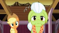Applejack and Granny Smith hearing Apple Bloom S3E08