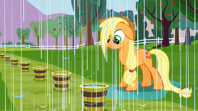 File:Applejack getting rained on S3E8.png