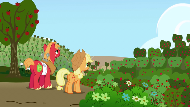 Datei:Big McIntosh and Applejack looking at Sweet Apple Acres S01E04.png