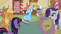 Group laughing at Rainbow Dash S2E08