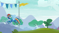 Rainbow Dash flying over to her friends S6E7