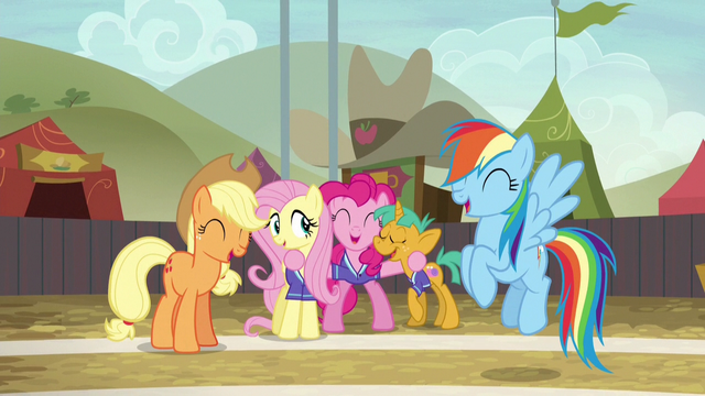 File:AJ, Fluttershy, Pinkie, Snails, and Rainbow laughing S6E18.png