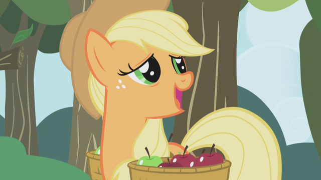 "File:Applejack ""quite neighborly of her"" S1E04.png"