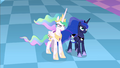 Celestia and Luna facing Discord S4E02.png