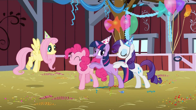 File:Pinkie Pie, Twilight, Rarity dancing S1E25.png