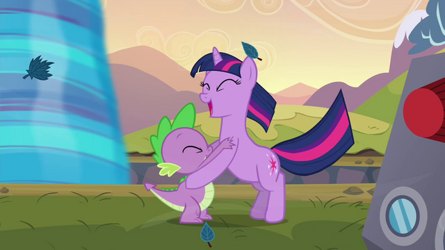 File:Twilight and Spike cheering S2E22.png