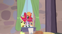 Big Mac and CMCs outside Sugar Belle's window S7E8