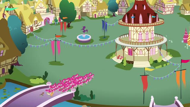 File:Pinkies swarming Ponyville S3E3.png