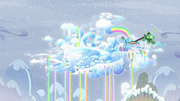 Rainbow flying to Cloudsdale with Tank S5E5.png