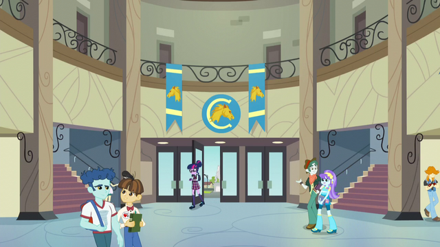 File:Twilight enters Canterlot High School EG3.png