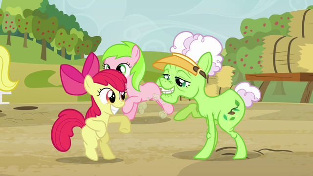 File:Apple Bloom and Applesauce dancing S3E8.png