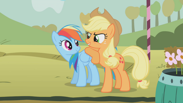 File:Applejack leaning on Rainbow Dash S01E13.png