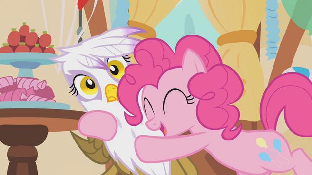 File:Pinkie Pie hugging Gilda S1E05.png
