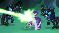 Thorax gets blasted by Queen Chrysalis' magic S6E26