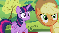 Twilight and Applejack hear Pinkie S4E18
