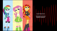 Rainbow, Fluttershy, and Sunset looks up while smiling EG2