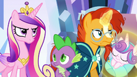 Spike surrounded by resentful ponies S6E16