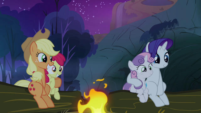 File:Sweetie Belle, Apple Bloom, Rarity and Applejack listening to Scootaloo's story S3E6.png