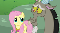 Fluttershy smiles at Discord S03E10