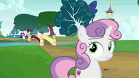 Rarity calls Sweetie Belle from across the bridge S7E6