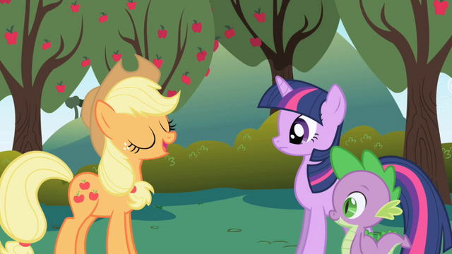 Файл:Applejack tells Twilight about being in charge of the food S01E01.png