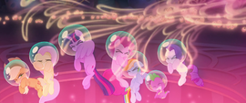 Mane Six and Spike showered in seapony magic MLPTM