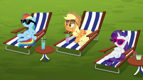 Rainbow, AJ, and Rarity hear the carts approaching S6E14
