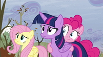 Twilight, Fluttershy, and Pinkie look at Rainbow S5E5