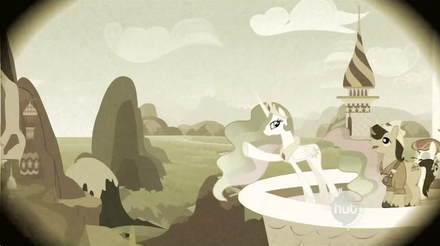 File:Princess Celestia directing the Smith family to the land S2E12.png