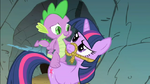 Spike trying to use Twilight as his horse S1E19