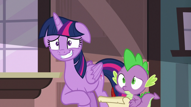 File:Twilight Sparkle grinning nervously at her friends S6E22.png