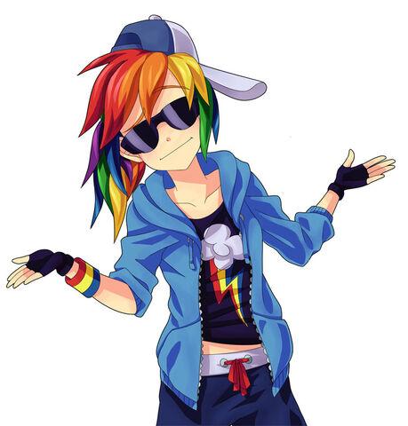 File:FANMADE Human Rainbow Dash shrugging.jpg