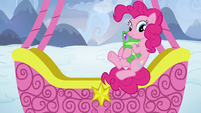 Pinkie Pie jumps out of the balloon basket S7E11